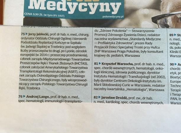 Lista 100 najbardziej wpływowych osób w polskiej medycynie w 2015 roku service thumbnail